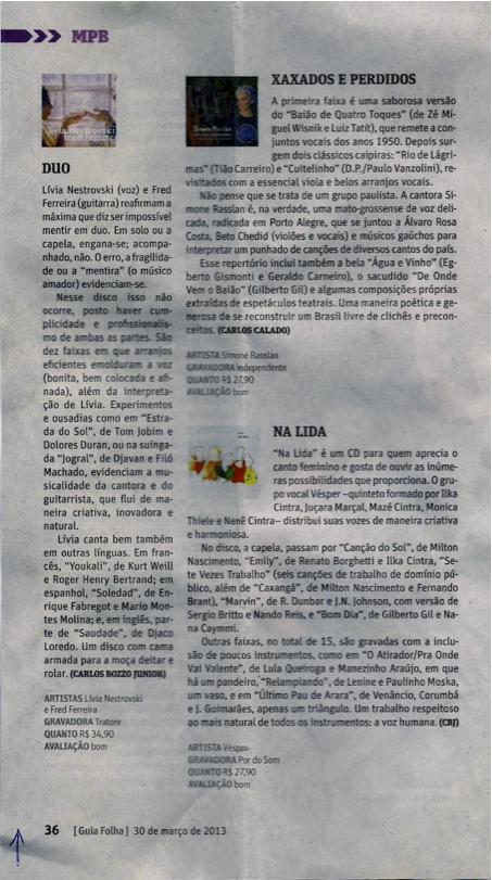 Guia da Folha - Livros, Discos, Filmes. Março 2013